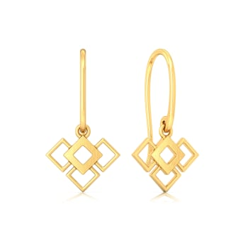 Square Overlay Gold Earrings