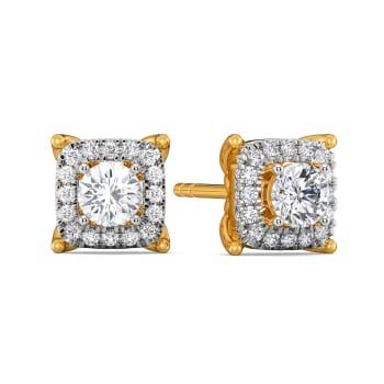 Four Squared Diamond Earrings