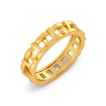 Basket Knits Gold Rings