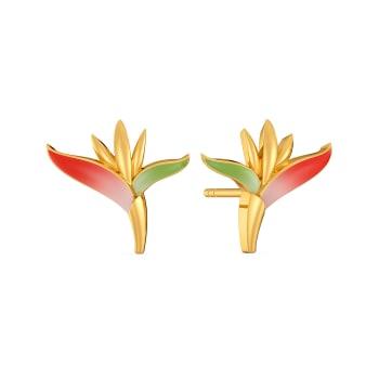 Birds of Paradise Gold Earrings