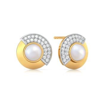 Pearl Twirl Diamond Earrings