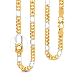 22kt Two Tone Penta Figaro Chain Gold Chains