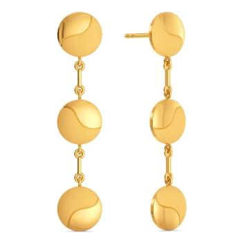 Disc Droops Gold Earrings