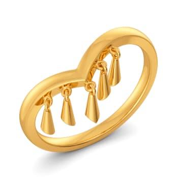 Twin Tassels Gold Rings