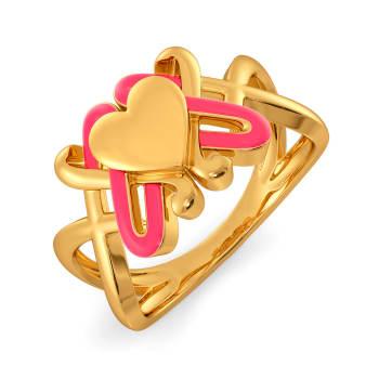 Fluoro Hearts Gold Rings