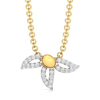 Trio-Petal Settle  Diamond Pendants