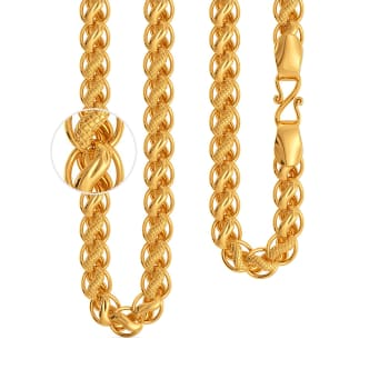 22kt Textured Swirl Motif Chain Gold Chains