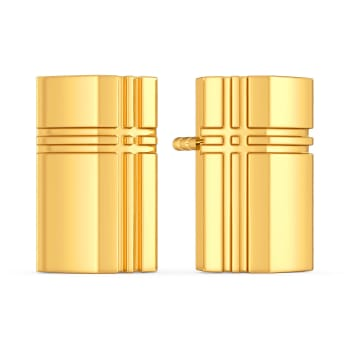 Plaid to Plot Gold Earrings