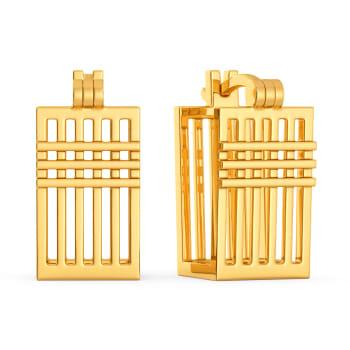 Cross Contours Gold Earrings