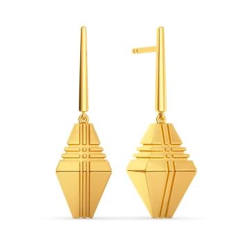 Sleek Checks Gold Earrings