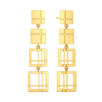 All Checked Out Gold Earrings