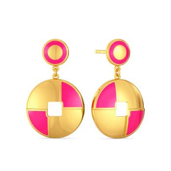 Pink A Wink Gold Earrings