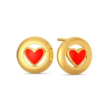 Circle of Hearts Gold Earrings