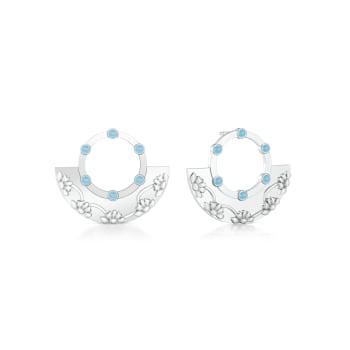 Floral Border Gemstone Earrings
