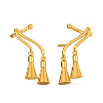 Tassel Swirls Gold Earrings