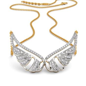 White Winged Diamond Necklaces