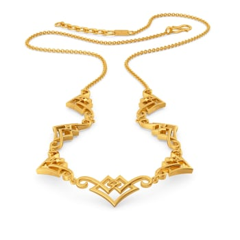 Swirl N Square Gold Necklaces