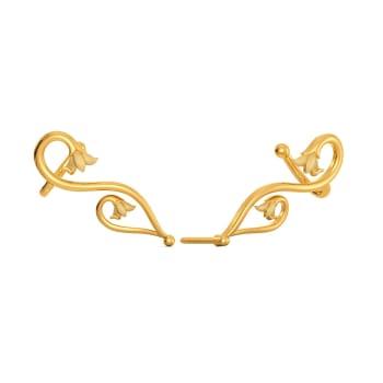 Spirals N Vines Gold Earrings