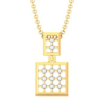 Gingham Style Diamond Pendants