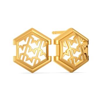 Bold N Tweed Gold Earrings