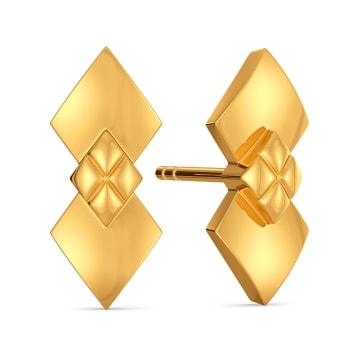 Rhomb Knot Gold Earrings