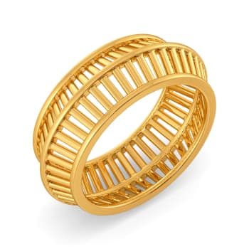 Raffia Interlocked Gold Rings