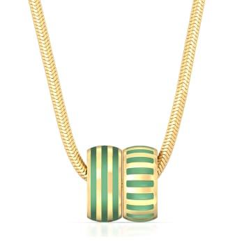 Pinstriped Green Gold Pendants