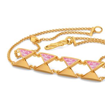 Pink Shibori Gold Bracelets