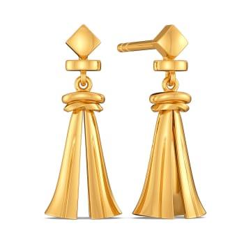 Tassel Tuft Gold Earrings