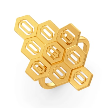 Hex Effect Gold Rings