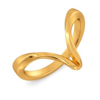 Swirling Strands Gold Rings