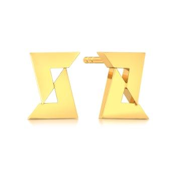 Love Triangle Gold Earrings