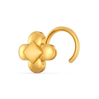 Floral Fractal Gold Nose Pins