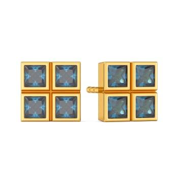 Blue Blocks Gemstone Earrings