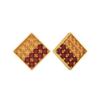 Dual Hues Gemstone Earrings
