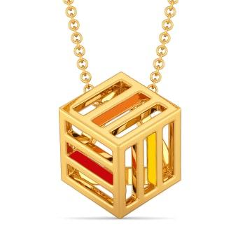 Color me Block Gold Pendants