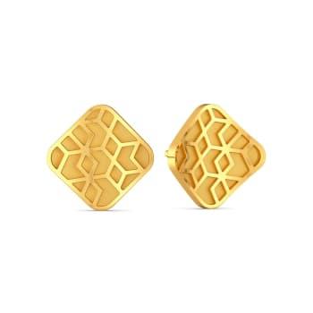 Curvy Rhombi Gold Earrings
