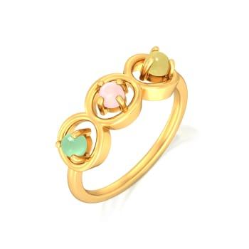 Triple Scoop Gemstone Rings