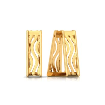 Swerve Curve Gold Earrings