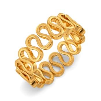Knit Detail Gold Rings