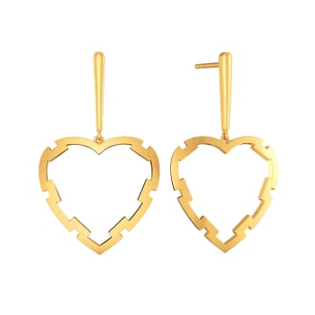 Fantasy Heart Gold Earrings