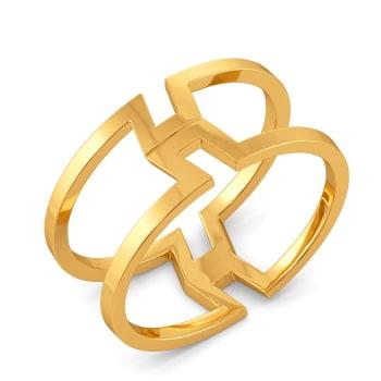 Pleats N Folds Gold Rings