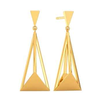 Edgy Contours Gold Earrings