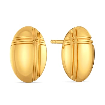 Check Intersect Gold Earrings