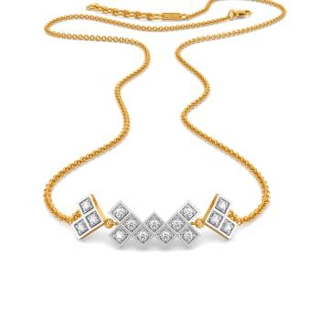 Plaid Ful Diamond Necklaces