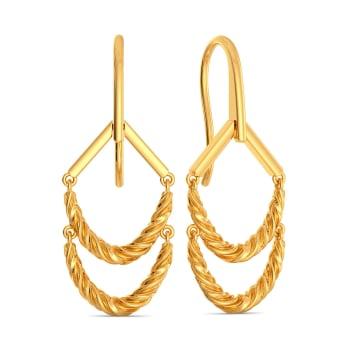 Fringe Twirls Gold Earrings