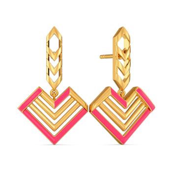 Fuscia Fondness Gold Earrings