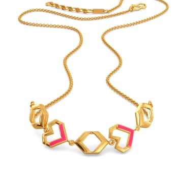 Fuscia Fondness Gold Necklaces