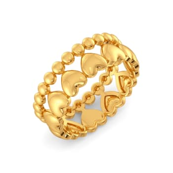 Disco Hearts Gold Rings