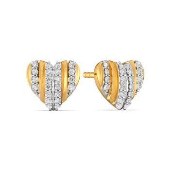 Pleats of Hearts Diamond Earrings